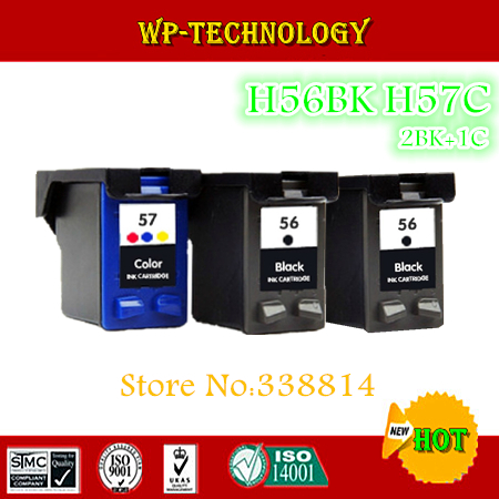 2BK+1C,3pieces Remanufactured ink cartridge suit for HP56 HP57, suit for  HP Deskjet 450,5150, 5550, 5552,5650 5652,5850 etc<br><br>Aliexpress