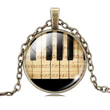 Fashion Piano Keyboard Picture Pendant Necklace Vintage Sterling Silver Necklace Summer Style Glass Cabochon Fine Jewelry