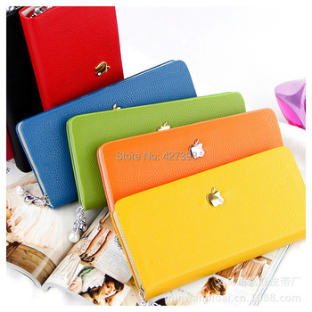 2014 Hot Selling Designer Brand Pearl Zipper Women Leather Wallets Coin Purse Ladies 21*10.5cm 10 Colors Free Shipping 3311001