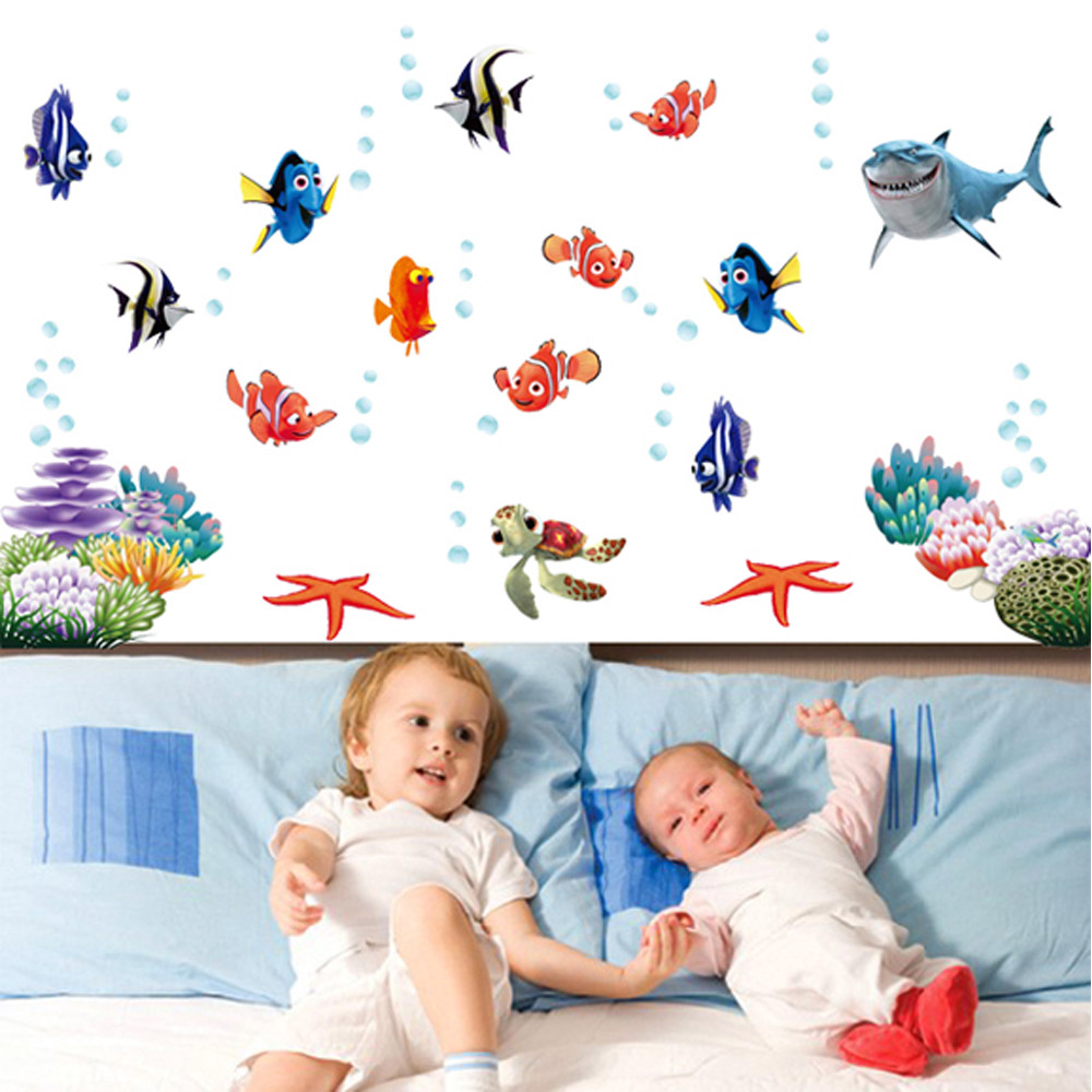 Kinderzimmer Tapete Unterwasserwelt : Kids Fish Bathroom Wall Decor