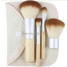 1set 4Pcs Professional Foundation Make up Bamboo Brushes Kabuki Makeup Brush Cosmetic Set Kit Tools Eye