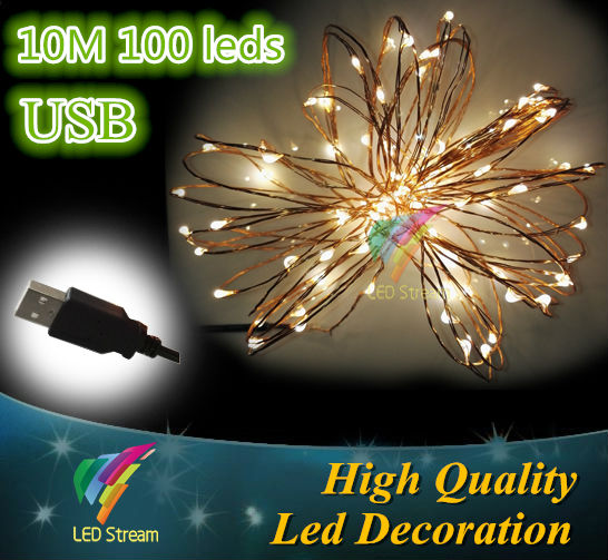 10M 100 Led Garland Copper Wire USB connector String Fairy Lights 33ft Holiday Lighting<br><br>Aliexpress