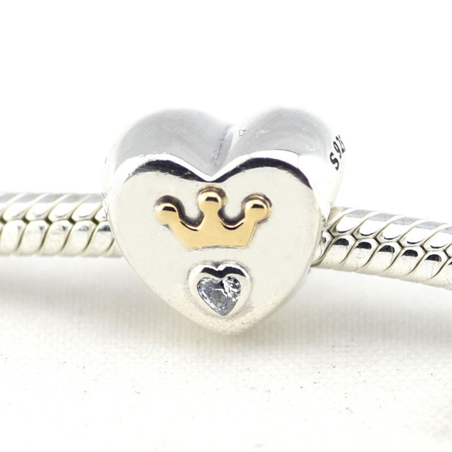 Осень стиль серебряные ювелирные изделия 925 величественный в форме сердца 14 К золото бусины Fit пандора оригинальный подвески браслеты DIY ювелирных украшений