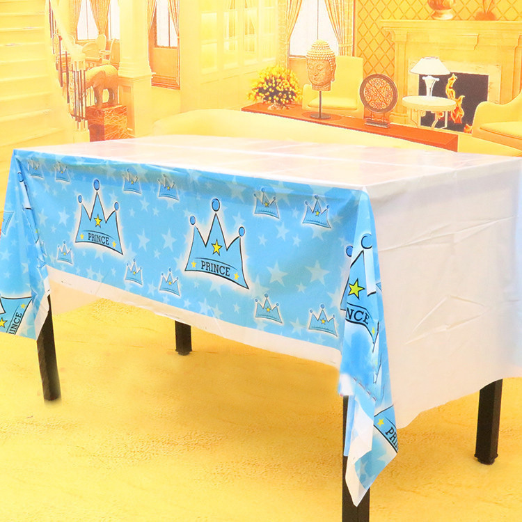 220*130cm Children's Day Birthday party Decor PLASTIC Table cover blue pink crown theme Party table cloth(China (Mainland))