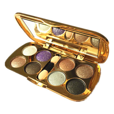 Fashion Easy Using Professional Salon/Party 8 Colors Makeup Eye Shadow Waterproof Glitter Eyeshadow Palette with Brush(China (Mainland))