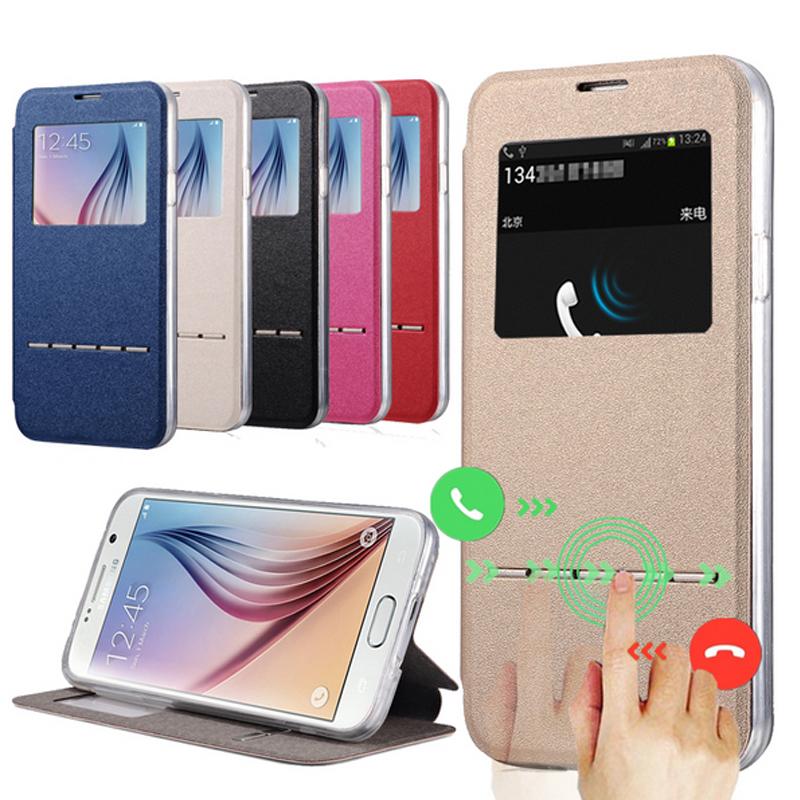 S6 Edge Matte PU Leather Flip Case For Samsung Galaxy S6 Edge / S6 Edge Plus Smart Slide Luxury Cover S6Edge Plus Coque Black(China (Mainland))