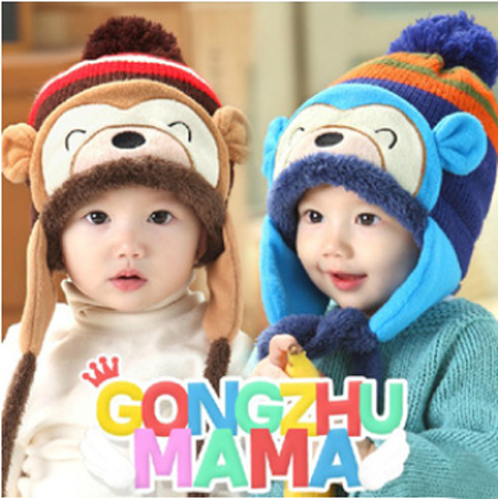 Winter Autumn Lovely Monkey Pattern Baby Knit Hat Caps Thicken Thermal Crochet Kids Beanie Vevet Fur Lining Toddler Earflap Hat(China (Mainland))
