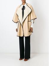 2015 new large models coat bat cape coat pocket PU type fifth round neck fur sleeve Beige stitching long section Europe(China (Mainland))
