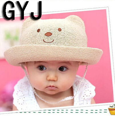 baby hats summer girls 1 to 6 years kids panda beach swimming sun girls caps children's hat for baby girl sun hats baby sun hats(China (Mainland))