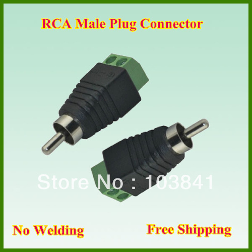 Free shipping Wholesale 50pcs/lot RCA male plug to 2 pin Connector, RCA MF to terminal Block ,CAT5 To Camera CCTV Video Balun(China (Mainland))