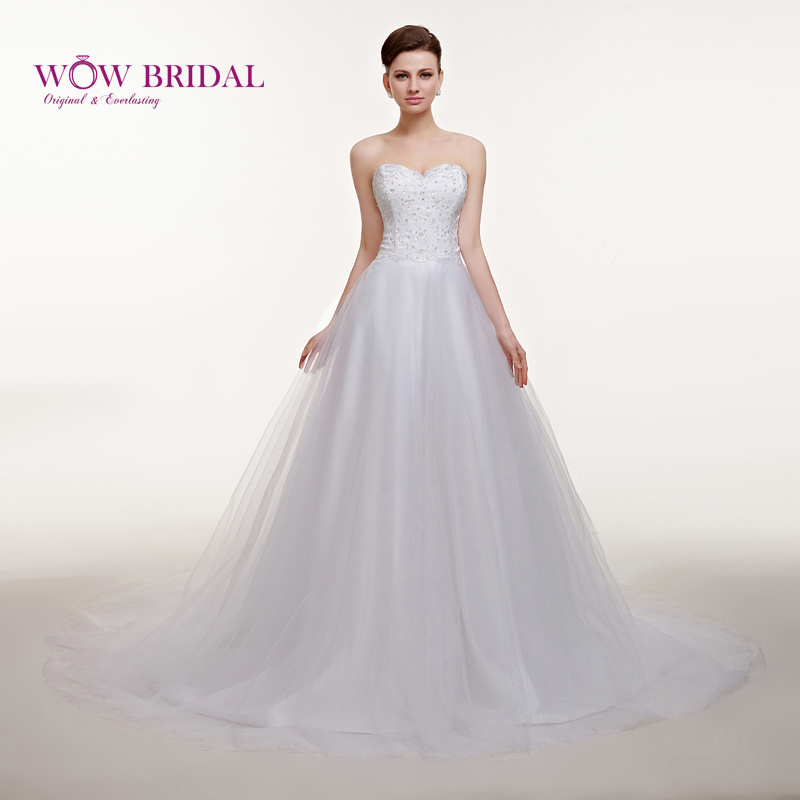 Wowbridal gorgeous white wedding dress 2016 sweetheart for Strapless sparkly wedding dresses