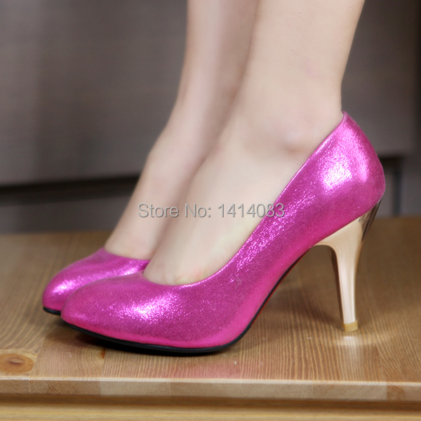 European nighclub style sexy pointed toe pumps fashion bronzing silver red golden heels women's shoes big size 4~9US(China (Mainland))