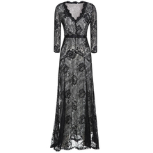 Explosion models! Fashion lace sexy ladies dress,Hot sale women long sleeve deep v neck dress,Sweet Ladies floor-length dress 50(China (Mainland))