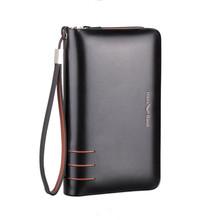 Double Zipper Men Genuine Leather Business Clutch Bag Handbag Men Leather Wallet Male Purse Large Capacity Carteira Masculina