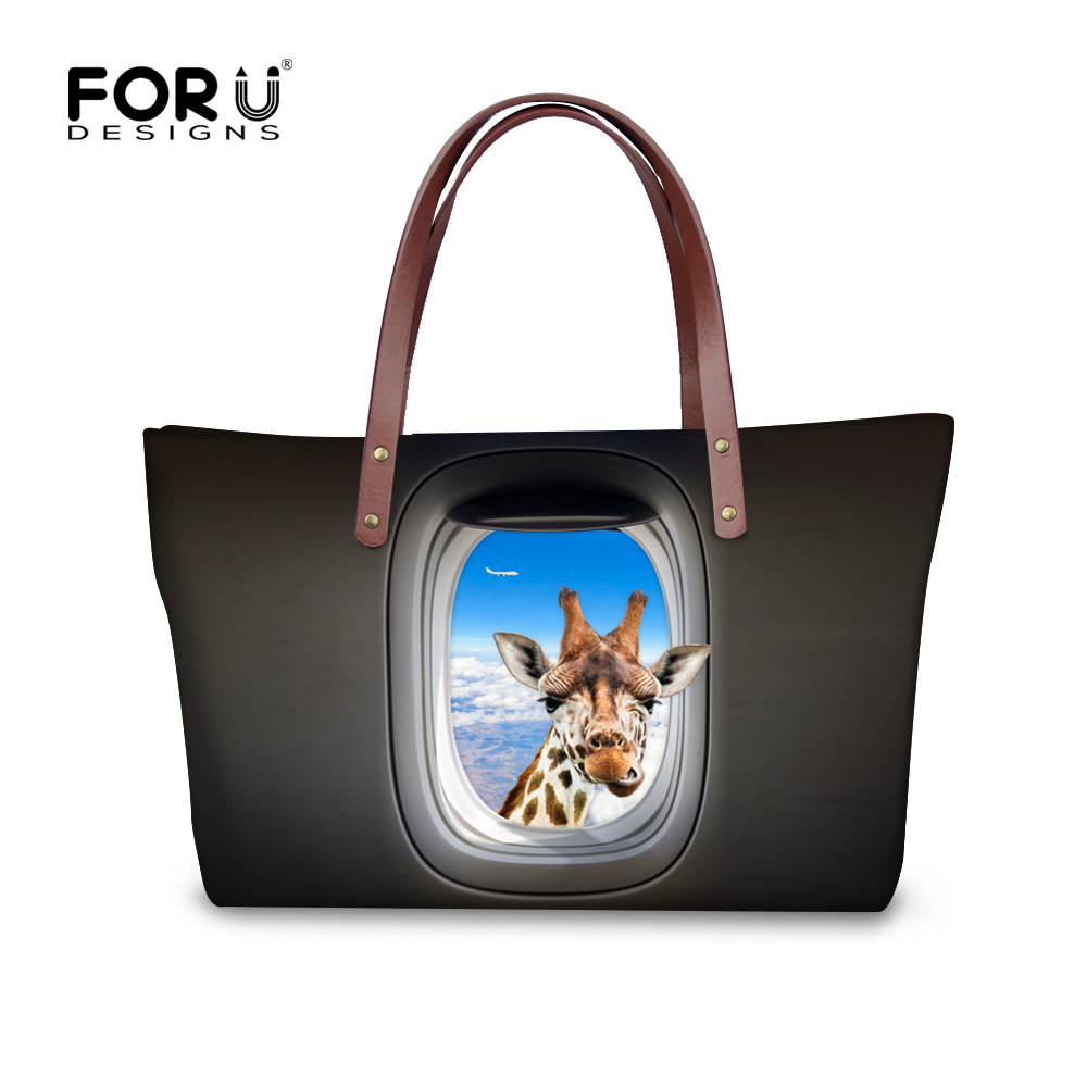 Customize Women Handbag Crazy Horse Giraffe Prints Tote Bags Female Large Capacity Ladies Beach Bag Casual Top-Handle Bag Bolsas(China (Mainland))