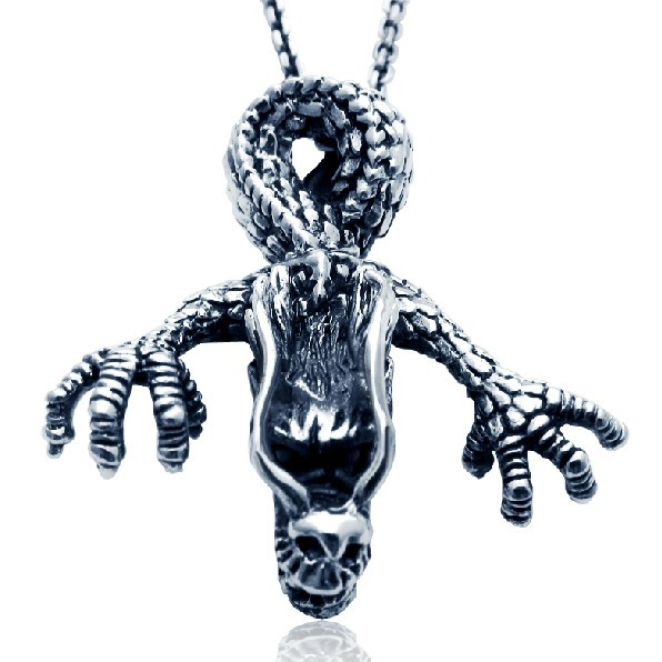 Handmade 925 silver dragon pendant vintage thai silver dragon head man pendant punk jewelry necklace pendant(China (Mainland))