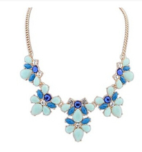 2016 New Crystal jewelry Flower Gem Stone necklaces & pendants Colorful Flowers 5 Colors Statement  Necklace for women Wholesale(China (Mainland))