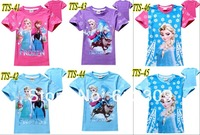 One Piece Retail 2014 New Summer Baby Girls t shirt Kids Frozen Anna and Elsa T-shirts children t shirts for 2-8years 20 colors