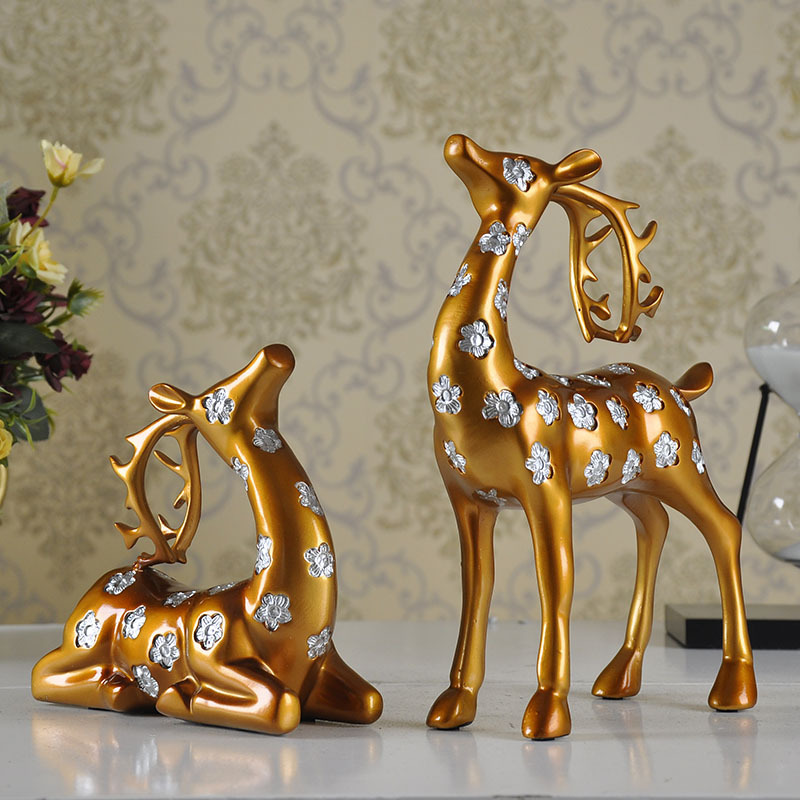 European resin handicrafts and American style furniture standing deer deer lying Home Furnishing decoration decoration(China (Mainland))