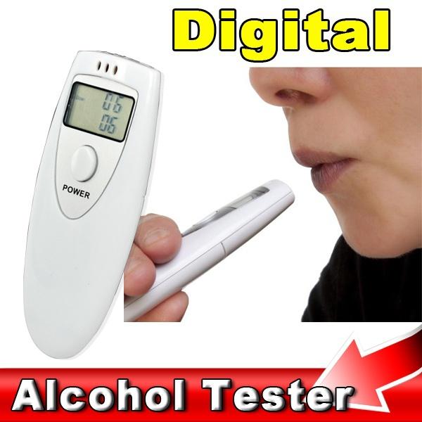 White Prefessional Police LCD Digital Breathalyzer Tester Portable Breath Alcohol Analyzer Meter Alcohol Detection(China (Mainland))