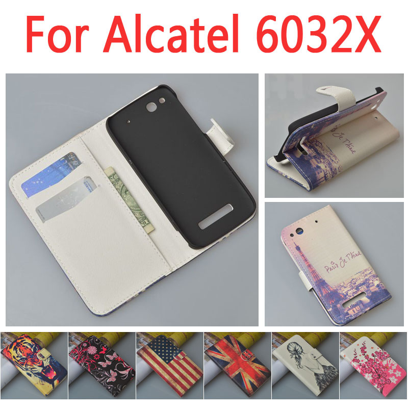 Carton pattern Flip Case for Alcatel One Touch Idol Alpha/6032X with card slot and stand function(China (Mainland))