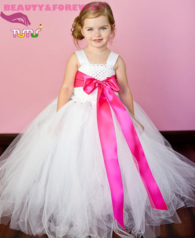 45 colors lined white flower girl tutu dress 1 T-8 T crochet tank top tulle children dresses(China (Mainland))