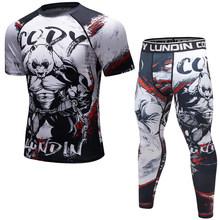 Nova marca ufc mma treino compressa camisa masculina mangas compridas bjj 3d calças de fitness rashguard tshirt + calças roupas masculinas(China)