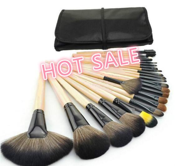 2015 HOT Sale Professional 24 pcs Makeup Brush Set tools Make-up Toiletry Kit Wool Brand Make Up Brush Set Case free shipping(China (Mainland))