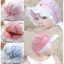 Cute Baby Girls Toddlers Lace Flower Sun Hat Cap Summer Cotton Hat 3-24 Months #L03086(China (Mainland))
