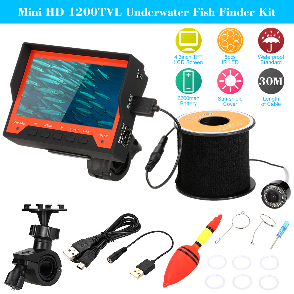 "HD 1200TVL Underwater Fish Finder Kit 4.3"" LCD Monitor Underwater Ice Video Fishing Camera System 30m Cable Visual Fish Finder(China (Mainland))"