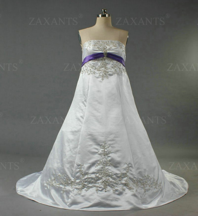 Buy w1156 strapless white and purple for Wedding dress with purple embroidery