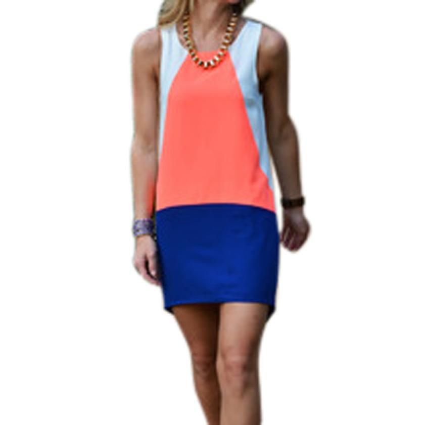 JECKSION Blue White Sleveless Women Dress 2016 Fashion Auburn Color Block Dress #L423(China (Mainland))