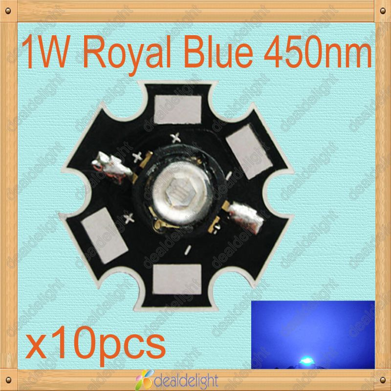 Hot Sale 10PCS 1W Royal Blue High Power LED Emitter 450-455NM with 20mm Star Platine Heatsink for Cabinet Tank Aquarium<br><br>Aliexpress