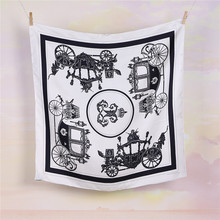 100% Silk Twill 70*70cm Square Scarf, Pumpkin car printing, Germany design, Fashion collective scarves women, hand rolled edge(China (Mainland))