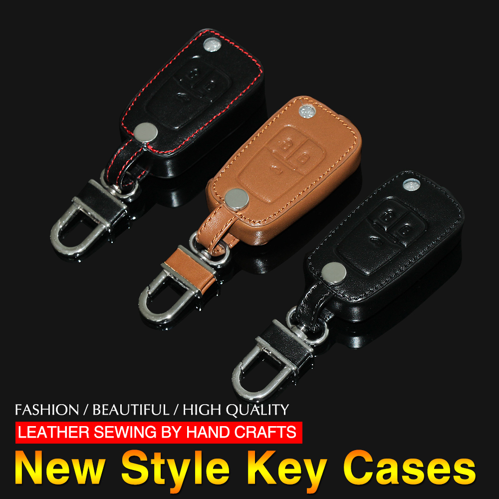 Leather Remote Control Car Keychain key cover bag case For Chevrolet Cruze OPEL VAUXHALL MOKKA BUICK ENCORE ,3 Buttons fold key(China (Mainland))