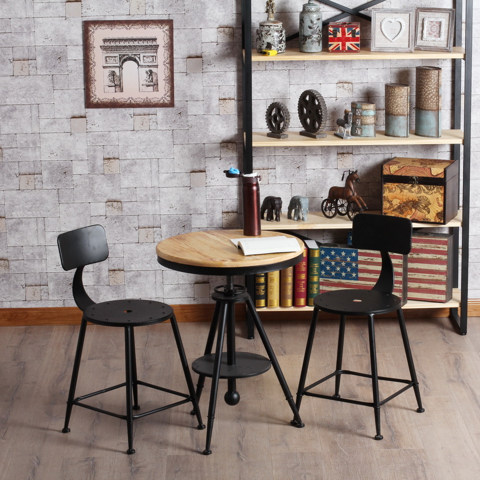 French Wrought iron bar chairs coffee tables and chairs can lift the coffee table to do the old retro wood coffee table Round Ta<br><br>Aliexpress