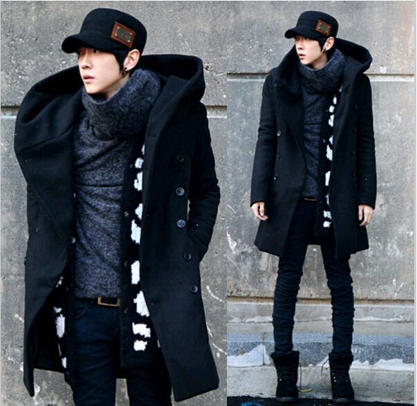 2015 Fashion Cheap Mens Pea Coat With Hood Double Breasted Long Wool Trench Coat Men Overcoat,Grey Black Navy Blue,Plus Size 3XL(China (Mainland))