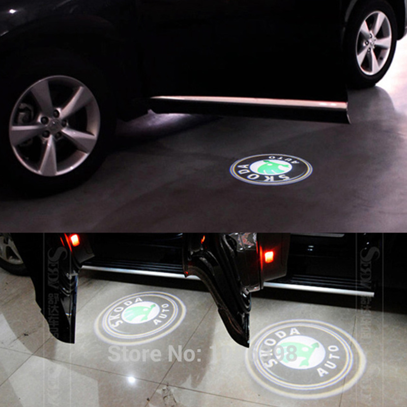 2 Laser LED Door Courtesy projector Shadow Light For Skoda Superb 2009-2015(China (Mainland))
