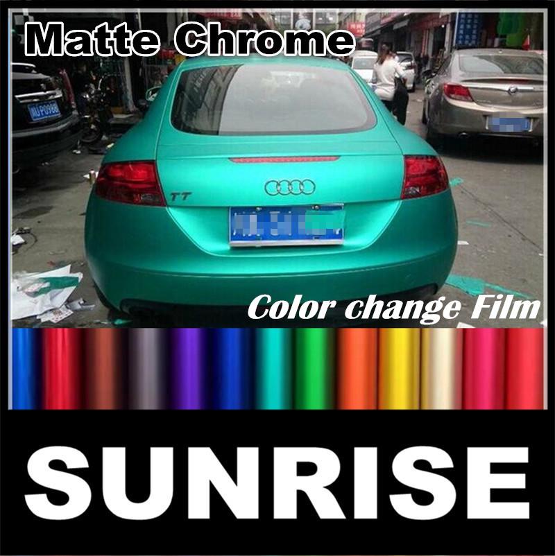 Air Free Matt Chrome Vinyl Film Metallic Car Vinyl Wrap Color Change Chrome Matte Car Sticker Protection Film 1.52m*20m/5ft*66ft(China (Mainland))