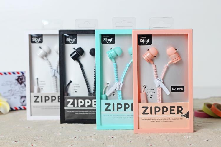 New Cute Girls Stereo Bass Zipper Earphones 3 5mm in ear Earphone with Microphone for Mobile