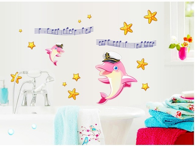 Счастливый дельфин музыка звезда съемный ванная комната стены наклейки дельфинов питомник декор для дома наклейки пвх обои
