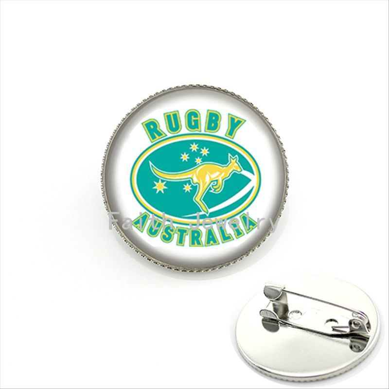 Exquisite popular men accessories brooches case for rugby australia football sport team badge brooch pins handmade gifts NF037(China (Mainland))