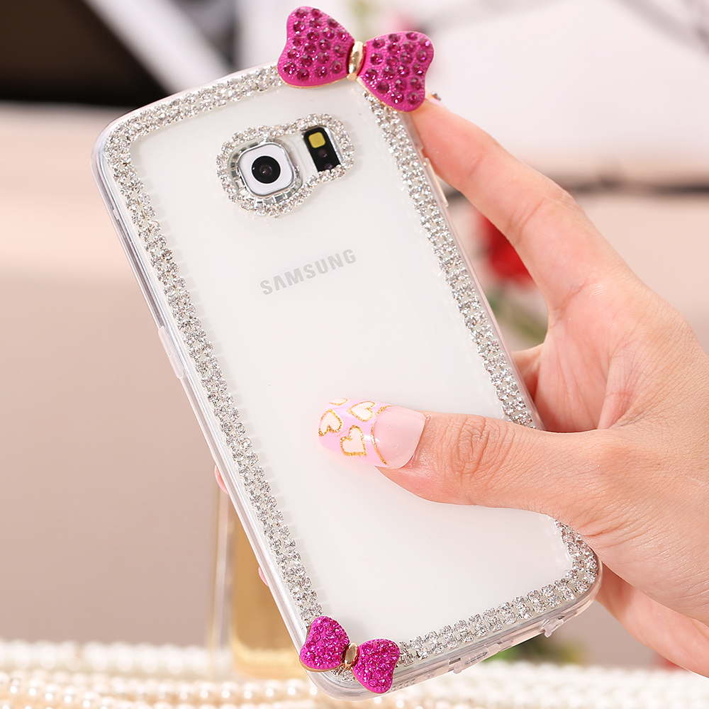 Diamond Butterfly Bow Knot Hard PC Case For Samsung Galaxy S6 G9200/S6 Edge G9250 Glitter Bling Rhinestone Cover Shell S6 Edge(China (Mainland))