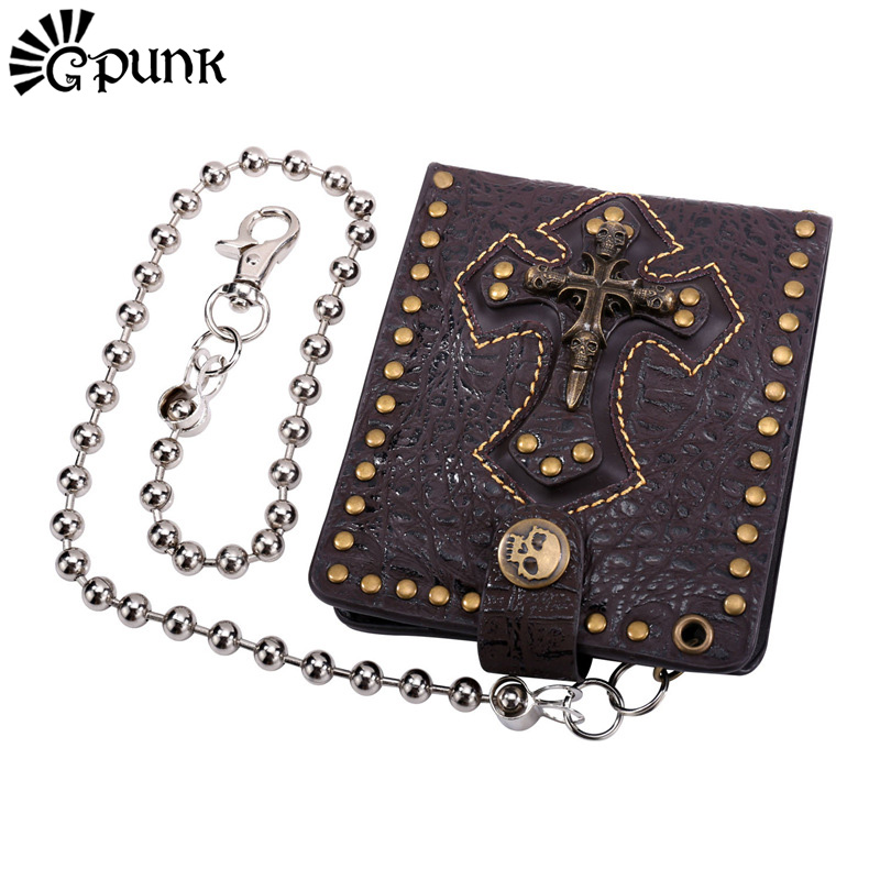 Wallet Purse Mens Short Wallet With Chain 100% Genuine Leather Cross Skeleton Coin Pouch ID Credit Cards Holder Dollar Package(China (Mainland))