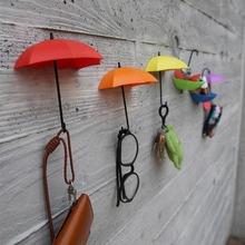 3Pcs 2016 New Arrival Colorful Umbrella Wall Hook Key Hair Pin Holder Organizer Decorative Free Shipping(China (Mainland))