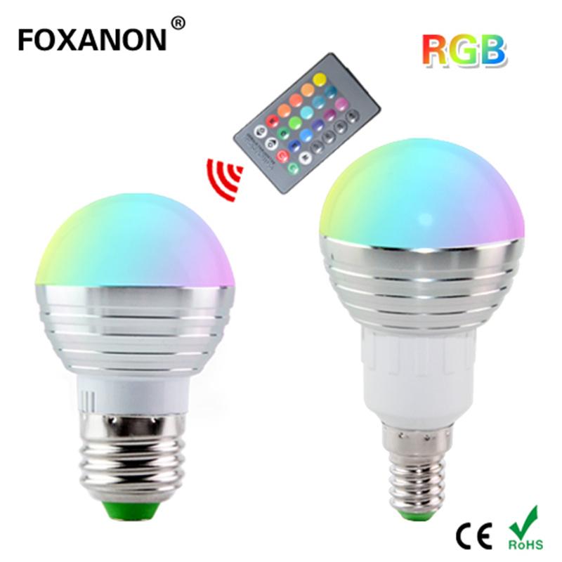 1Pcs Dimmable 16 Colors RGB Christmas Decor Atmosphere LED Night light E27 E14 5W 85V - 265V LED lamp Spotlight Bulb + IR Remote(China (Mainland))