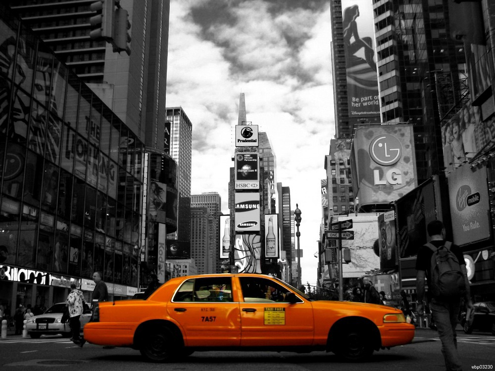 Yellow Cab Taxi Times Square Night Lights New York City BW Art Huge Print Poster TXHOME D5676(China (Mainland))