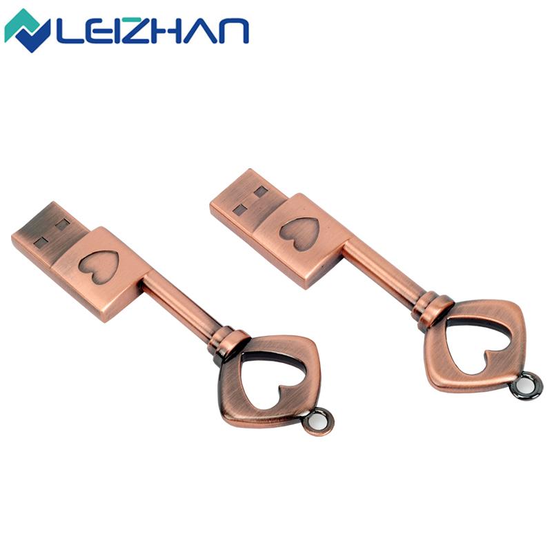Heart Key 8G 16G 32G 64G USB Flash Drive Memory Stick usb Stick gray Pen drive Waterproof silver metal key ring pendrive(China (Mainland))