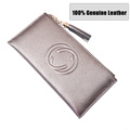 women genuine leather long wallets 100 cow leather standard wallets 2016 cell phone bag ID card