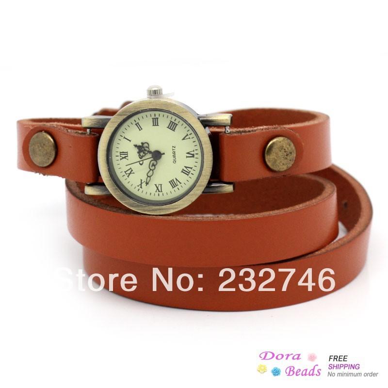 "Leatheroid Adjustable Watch Round Orange Arabic Numerals 63.5cm long (25""),1Piece (B28884)8seasons(China (Mainland))"